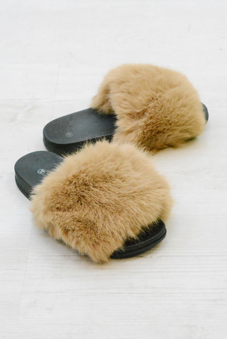 Camel Fluffy Fur Sliders