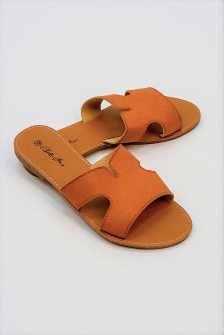 Camel Leather Flat Slip On Slider