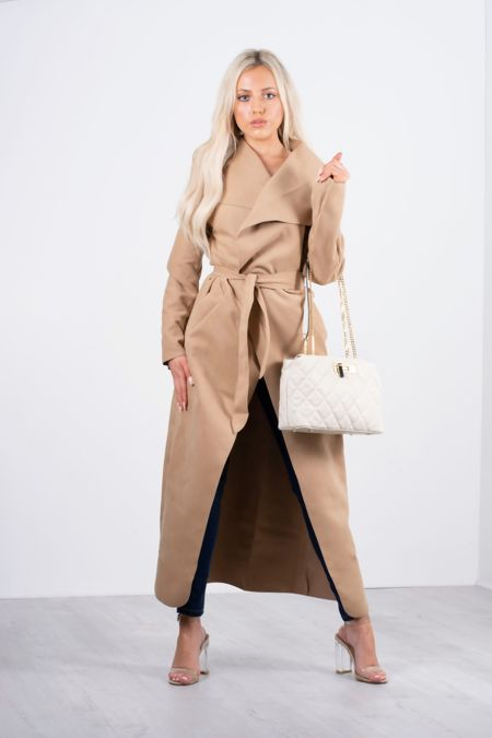 Camel Waterfall Drapped Duster Maxi Coat