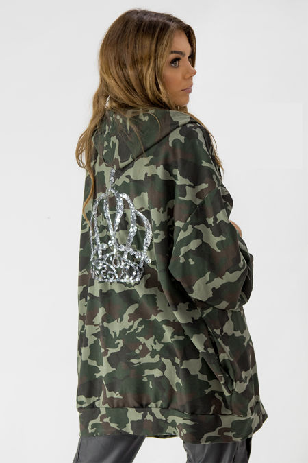 Camo Sequin Crown Back Zipped Oversized Hoodie