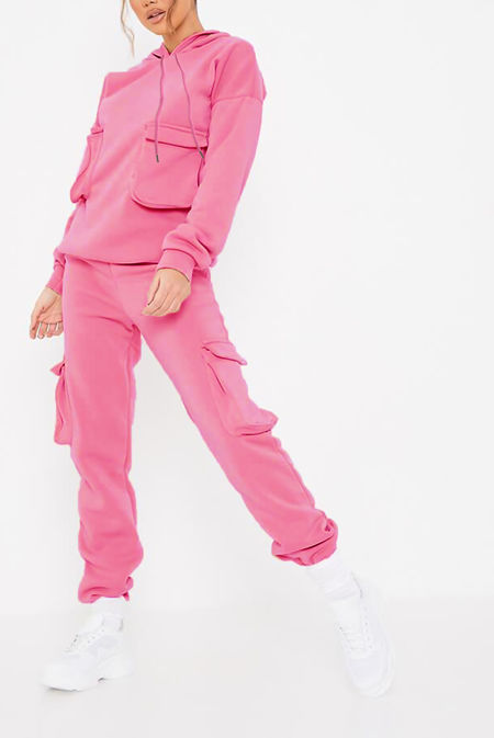 Candy Pink Cargo Pocket Hoodie And Jogger Set