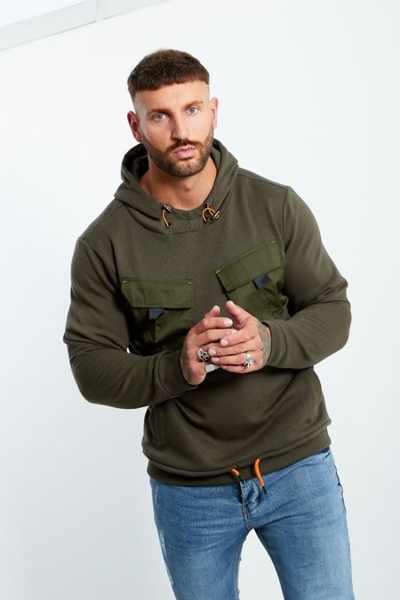 Cargo Pocket Front Pull Over Hooded Jumper