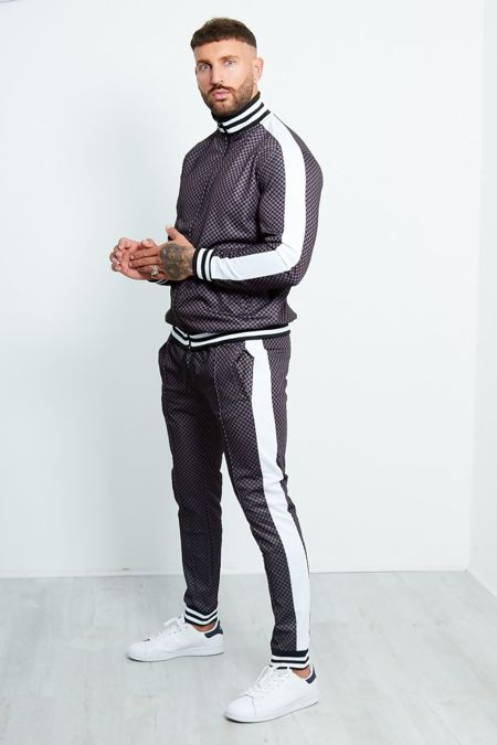 Charcoal And Black Chequered Side Stripe Tracksuit