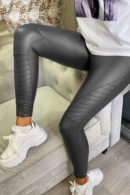 Charcoal PU High Waisted Biker Leggings