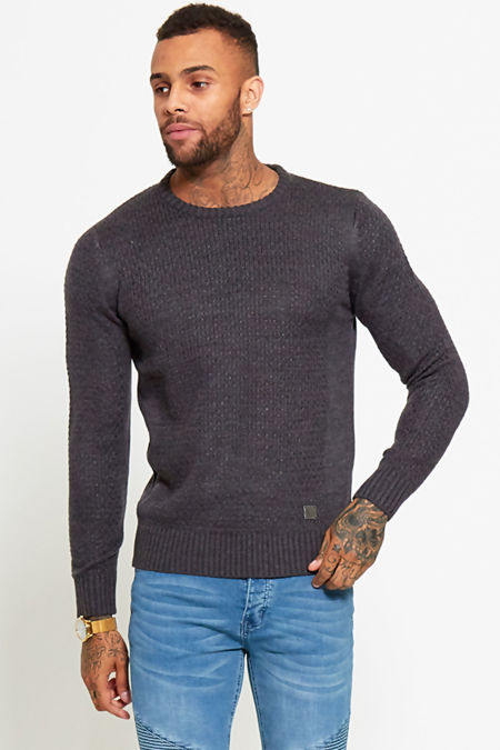 Charcoal Crew Neck Knitted Jumper