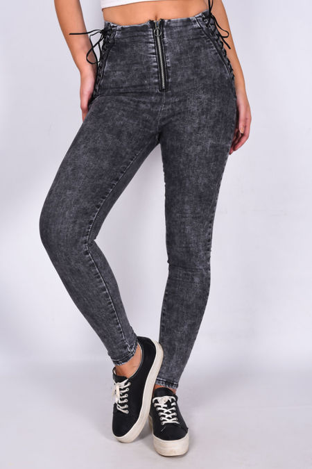 Charcoal Denim Lace Up Detail Zip Front Skinny Jean