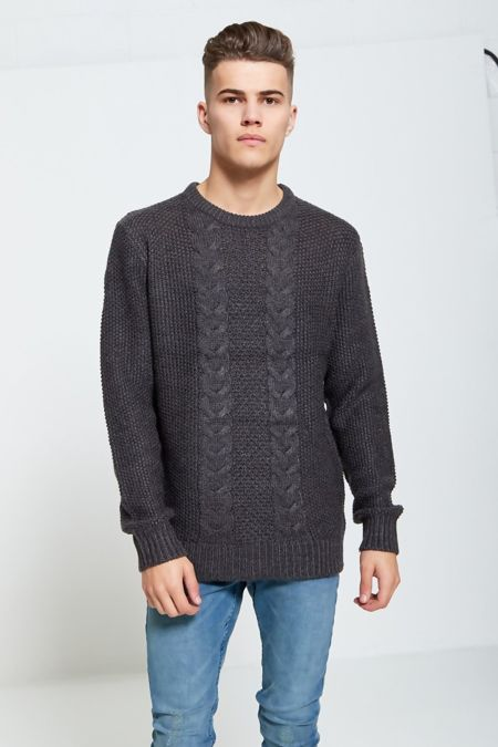 Charcoal Fish Braid Knitted Jumper