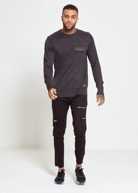 Charcoal Flap Pocket Fine Knit Jumper