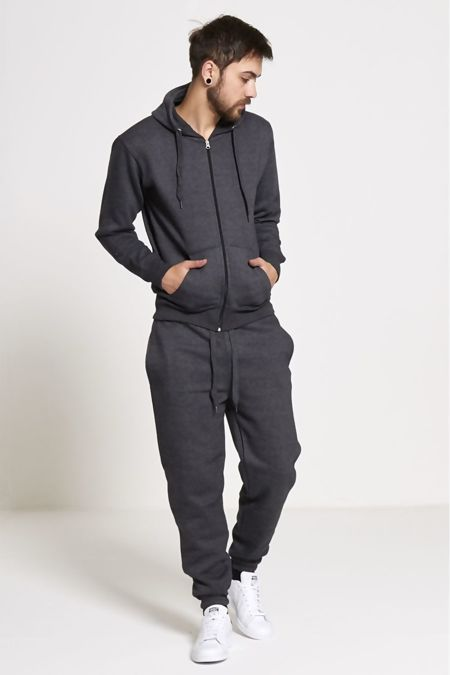 Plus Size Charcoal Fleece Jogging Pockets Bottoms Plain Tracksuit
