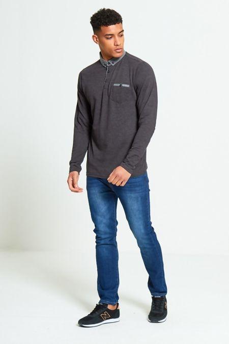 Charcoal Long Sleeve Welt Polo T-Shirt