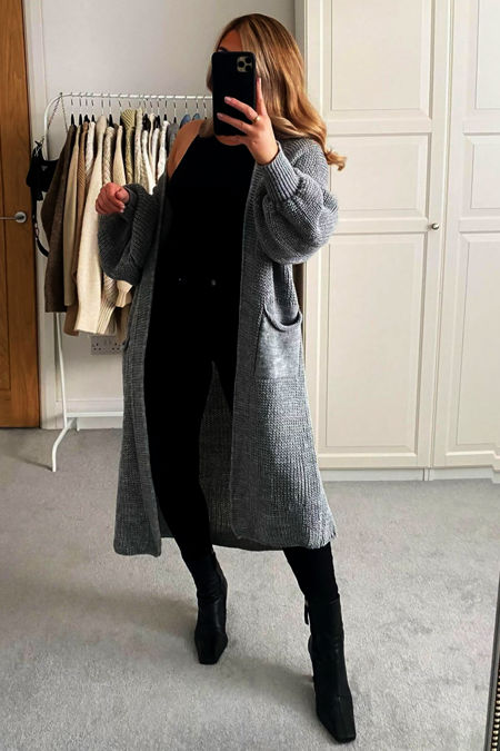 Charcoal Longline Balloon Sleeve Knitted Cardigan