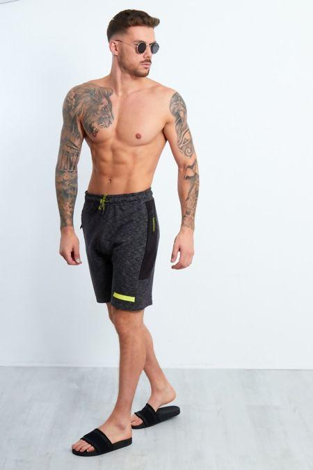 Charcoal Marl Black Panel Side Zip Jogging Shorts