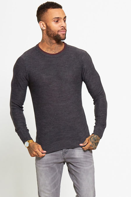 Charcoal Plain Contrast Jumper