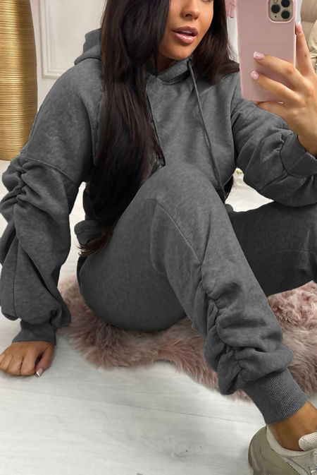 Charcoal Oversized Ruched Sleeve Hoodie