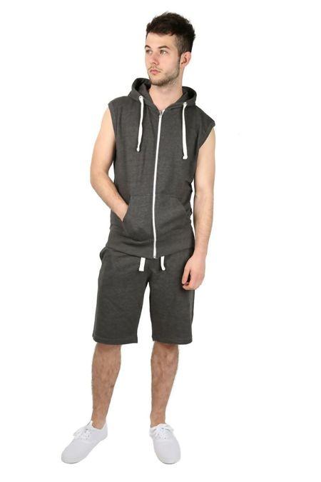 Charcoal Sleeveless Hood Short Set