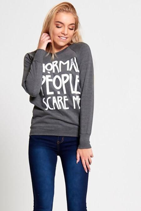 Charcoal Slogan Print Pullover Jumper