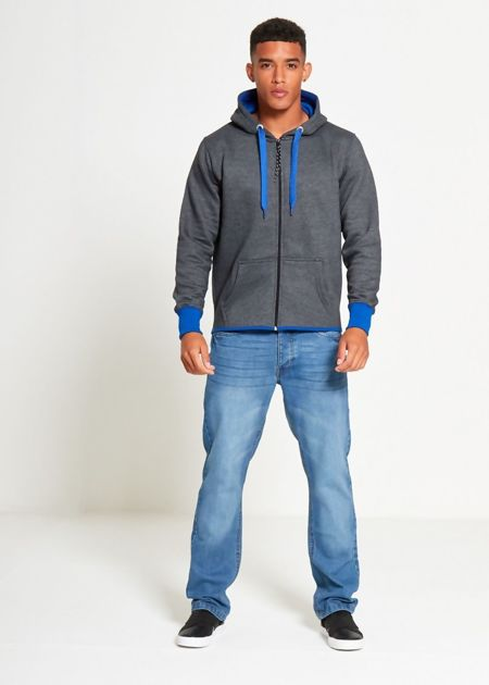 Charcoal With Blue Contrast Zip Through Hoodie