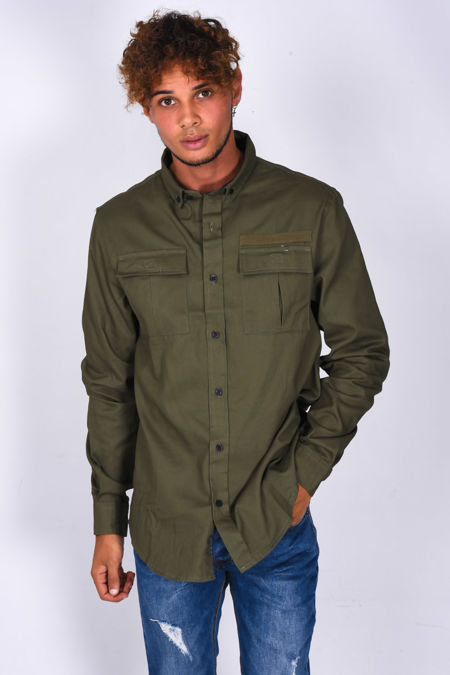 Khaki Chest Pocket Button Up Shirt