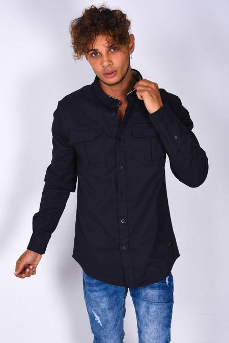 Navy Chest Pocket Button Up Shirt