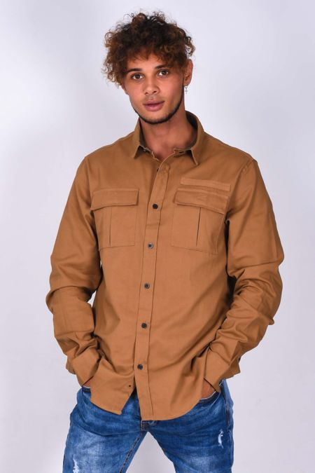 Camel Chest Pocket Button Up Shirt