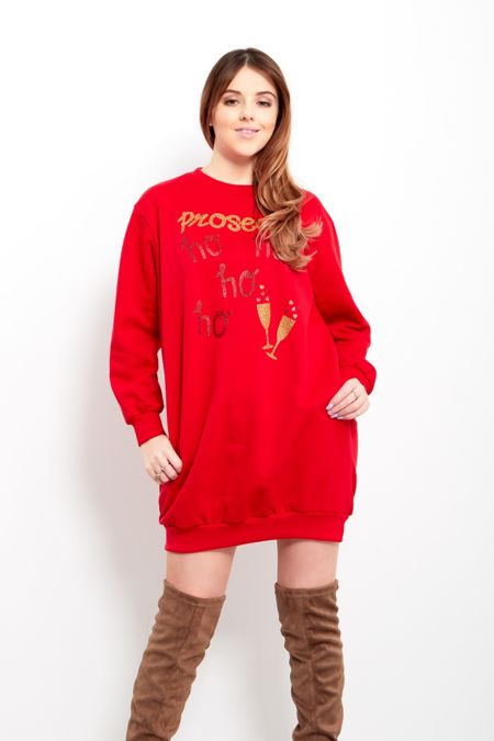 Red Prosecco Pocket Detail Christmas Sweat Dress