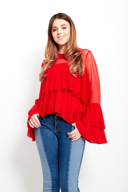 Red Frill Mesh Layered Top