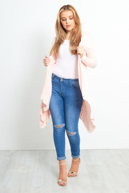 Cream Plain Waterfall Cardigan