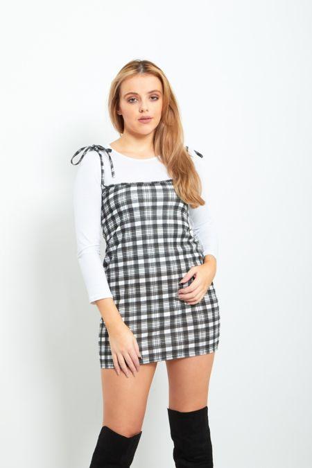 Black Check Print Bodycon Pinafore Dress