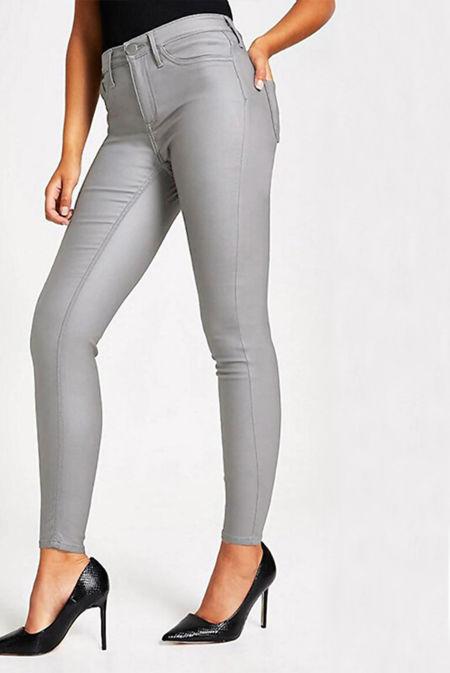 Grey Coated Skinny Jeans