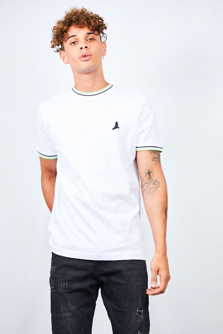 Contrast Sports Stripe Rib Detail T-Shirt