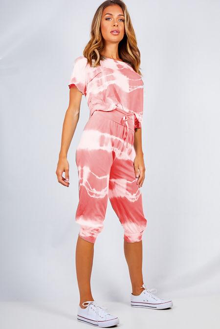 Coral Tie Dye Crop Top And Harem Cap Set