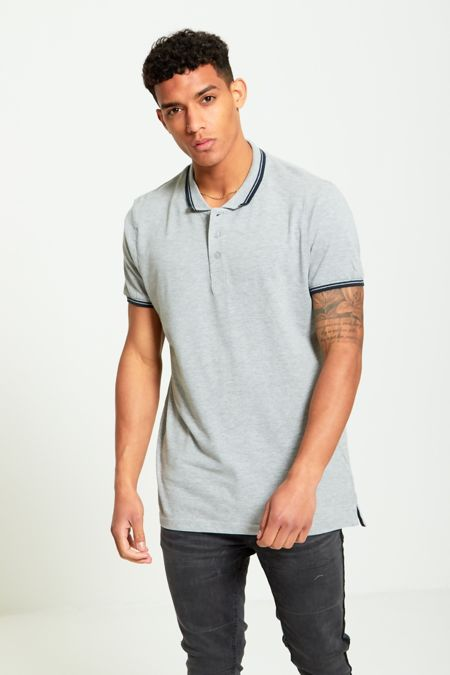 Contrast Grey Block Polo T-Shirt