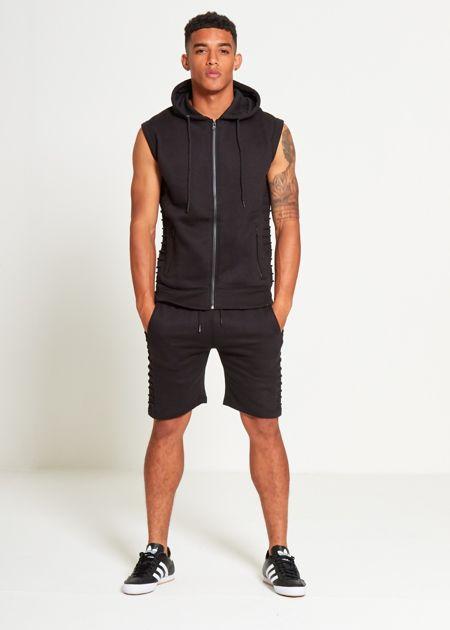 Black Ribbed Padding Hood Shorts Set