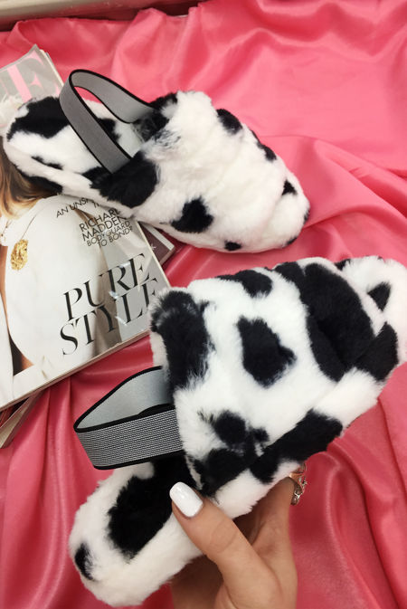 Cow Print Faux Fur Fluffy Stripe Slipper
