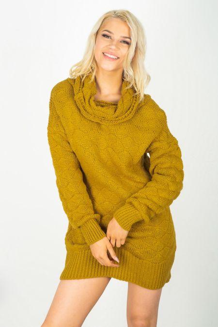 Cowl Neck Knitted Jumper Dress