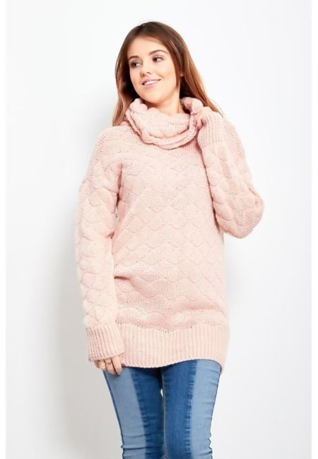 Cowl Neck Long-line Knitted Jumper