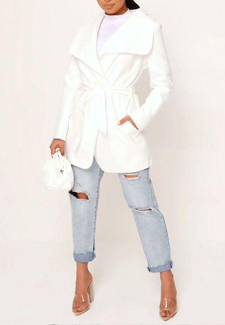 Cream Cropped Waterfall Coat
