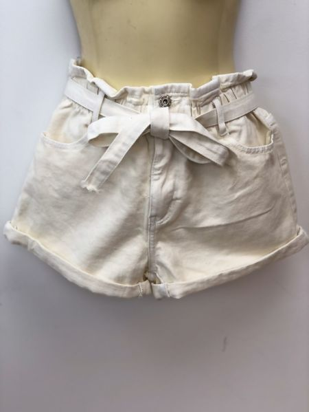 Cream Elasticated Waist Belted Shorts