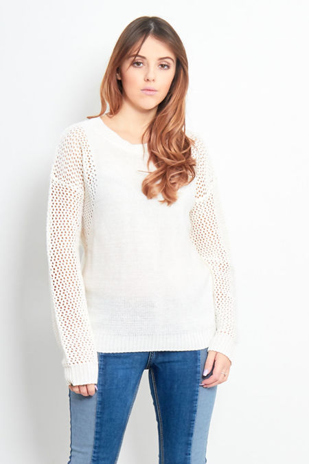 Cream Glitter Peephole Detail Jumper