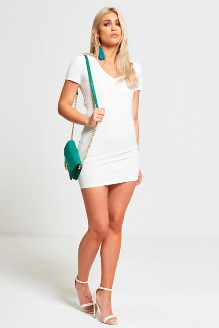 Cream Lace Back Mini Dress