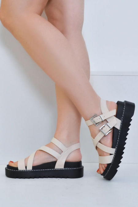 Cream Lizard Strappy Chunky Sandals