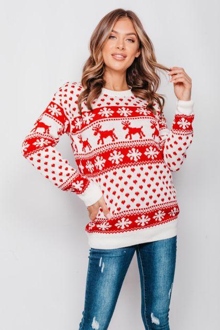 Cream Reindeers and Snow Flake Christmas Jumper