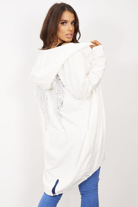 Cream Sequin Angel Wing Hooded Cardigan