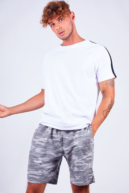 Crew Grey Camouflage Print Jersey Shorts