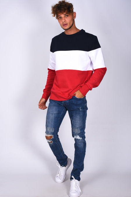 Navy Crew Neck Colourblock Sweatshirt
