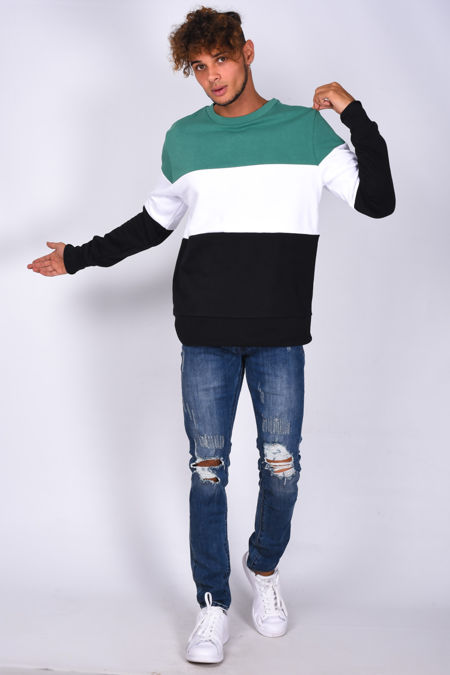 Green Crew Neck Colourblock Sweatshirt