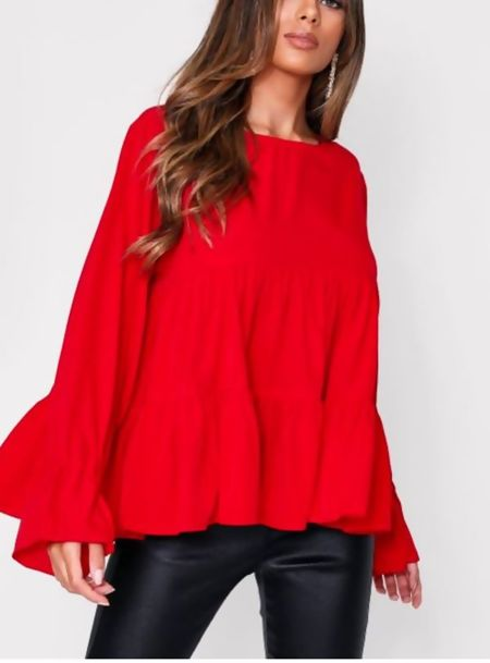 Black Long Sleeve Tiered Frill Smock Top