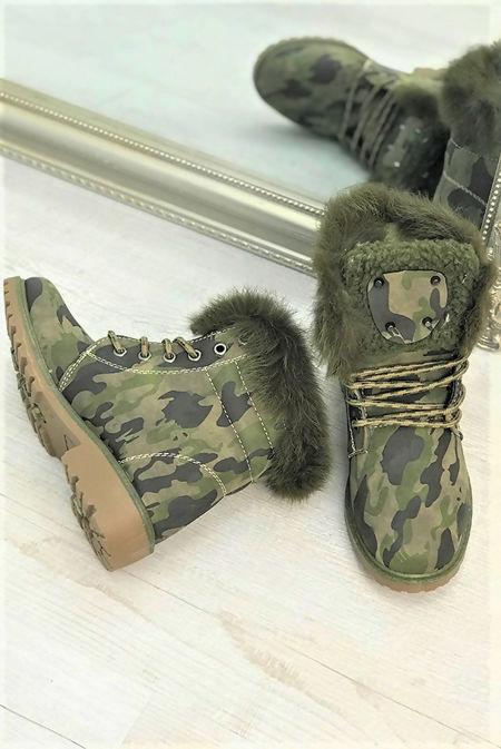 Camo Faux Fur Stud Boots