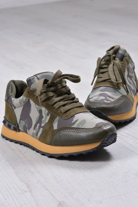 Camo Lace Up Trainers
