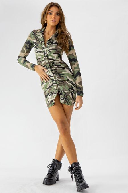 Camo Print Ruched Shirt Dress